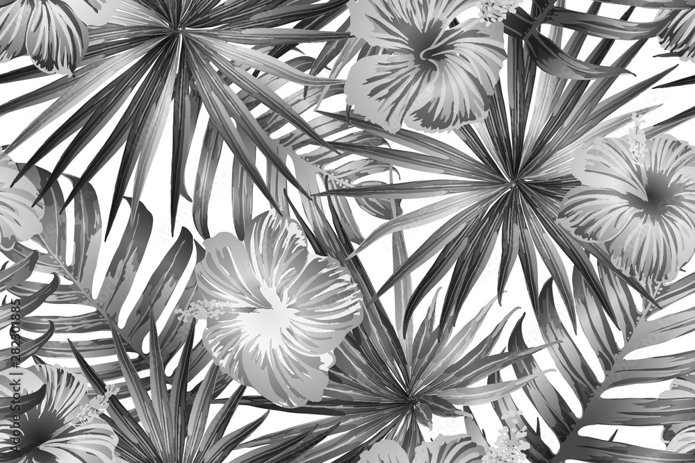 Obraz Black white exotic pattern. fototapeta, plakat