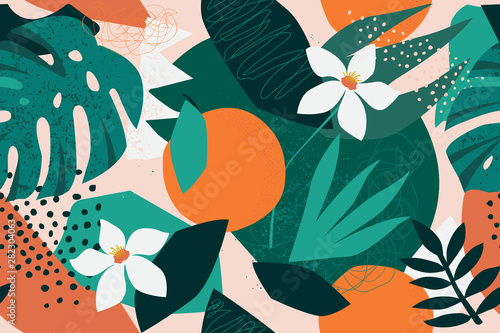 Collage contemporary floral seamless pattern. Modern exotic jungle fruits and plants illustration in vector. - 282304063