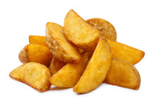 Delicious Fried Potato Wedges, Isolated On White Background