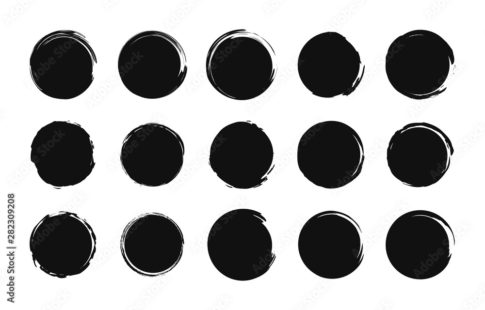 Fototapety, obrazy: Set of grunge post stamps. Sale tags. Shopping. Round banners, boxes, frames, logos, icons, labels, badges. Brush circle. Vector illustration.