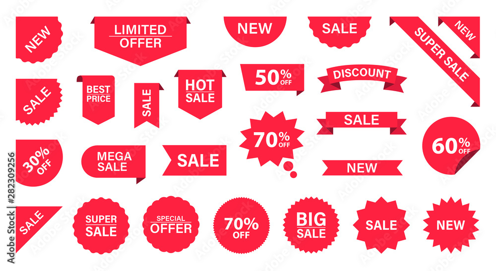 Fototapeta Sale Label collection set. Sale tags. Discount red ribbons, banners and icons. Shopping Tags. Sale icons. Red isolated on white background, vector illustration.