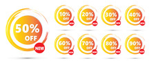 Set Of Sale Icons. SALE Tags Set Vector Badges Up To 10, 20, 30, 40, 60, 70, 80, 90 Percent Off. Marketing SALE Offer Sticker Vector.