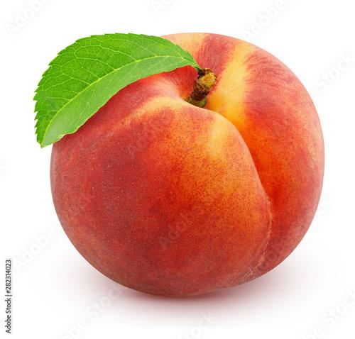 Fotografia ripe peach isolated on white background