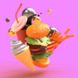 Leinwanddruck Bild - Flying composition of food items on a pink background