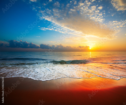 Fototapety, obrazy: beautiful sunset and tropical sea