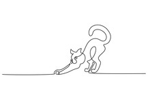 One Line Drawing. Cat Standing With Curled Tail