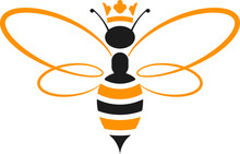 Queen Bee Icon With Crown In Y...