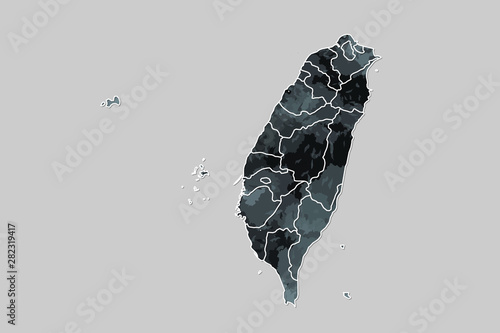 Taiwan watercolor map vector illustration of black color with border lines of di Wallpaper Mural