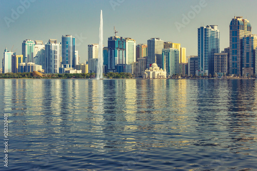 Sharjah skyline at sunny day, United Arab Emirates