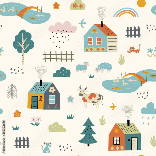Seamless funny childish pattern with cute village Poster Mural XXL