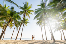 Couple Standing On Sandy Beach Among Palm Trees On Sunny Morning