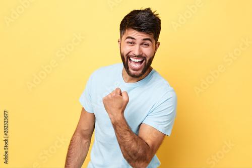 funny crazy football fan rejoicing at victory Fototapeta