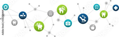 Fototapeta dental care / dentistry / oral hygiene: abstract icon concept: connected dental health symbols - vector illustration obraz na płótnie