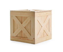 One Closed Wooden Crate Isolat...