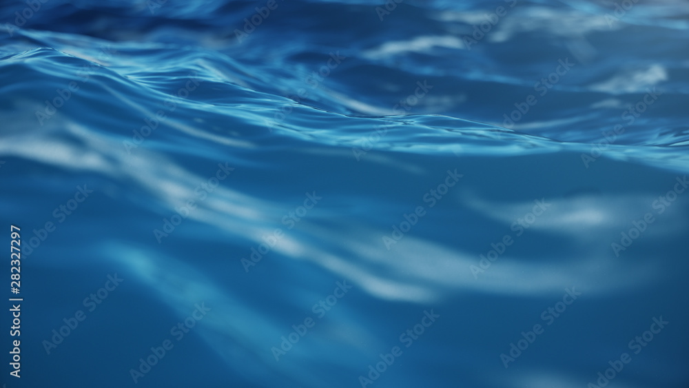 Fototapety, obrazy: Sea wave low angle view. Ocean water background. Sea or ocean wave close-up view. Beautiful blue clean water. 3D rendering