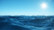 Sea Wave Low Angle View. Ocean Water Background. View From Below, View Of A Clear Blue Sky With The Sun. Sea Or Ocean Wave Close-up View. Beautiful Blue Clean Water. 3D Rendering