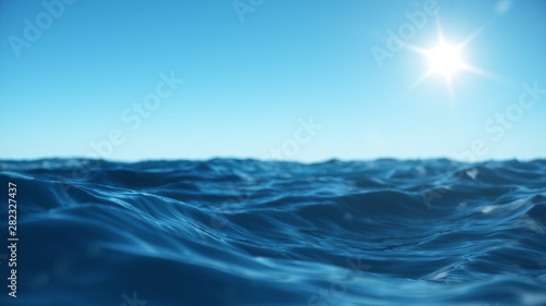 Abstract wave Sea wave low angle view. Ocean water background. View from below, view of a clear blue sky with the sun. Sea or ocean wave close-up view. Beautiful blue clean water. 3D rendering