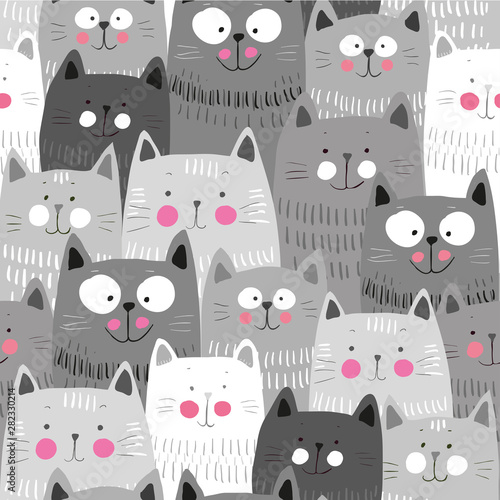 fototapeta na ścianę Cute cats, colorful seamless pattern background with cats