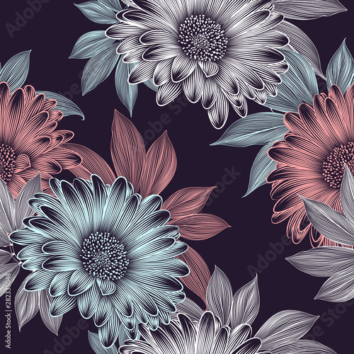 Fotografie, Obraz  Seamless floral abstract pattern with hand-drawn gerbera flowers