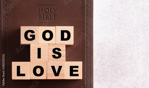 God is Love Spelled in Blocks on a Brown Leather Holy Bible Canvas Print