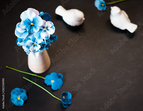 Pansy Flower Bouquet Blue Flowers On Dark Background Top View Flat Lay Copy Space Buy This Stock Photo And Explore Similar Images At Adobe Stock Adobe Stock