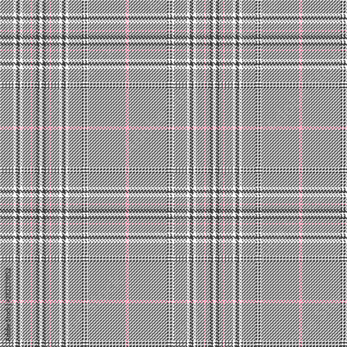 Glen check seamless pattern with white, black and pink stripes. Canvas Print