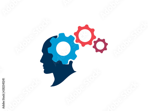 The process of thinking in the human head. Silhouette human head with gears. Strategic thinking and planning concept. Vector illustration.