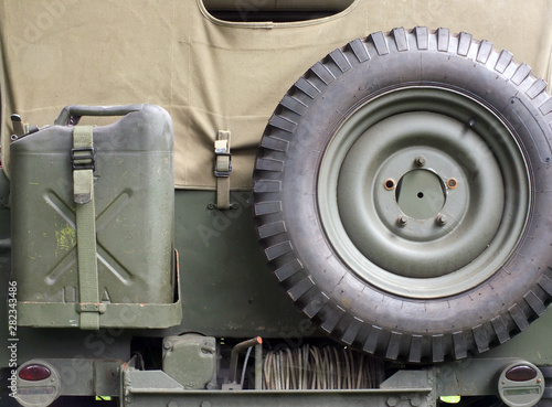 Photo retro style image of the rear of an old United States World War II Military car