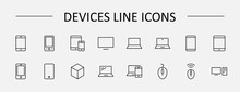 Set Of Smart Devices And Gadgets, Computer Equipment And Electronics. Electronic Devices Icons For Web And Mobile Vector Line Icon. Editable Stroke. 32x32 Pixels.