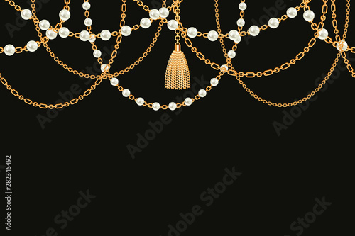 Leinwand Poster  Background with golden metallic necklace