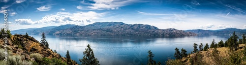 Poster Natuur Panoramic View of Okanagan Lake from Knox Mountain Park located at Kelowna British Columbia Canada