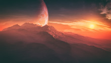 Majestic Alien Planet Environment With Epic Fantasy Sky Concept Art