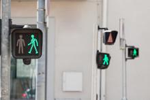 Pedestrian Green Light On A Tr...