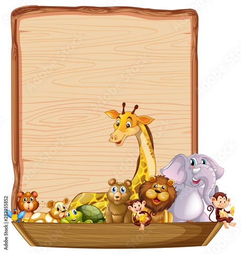 Border template with cute animals on wooden boat