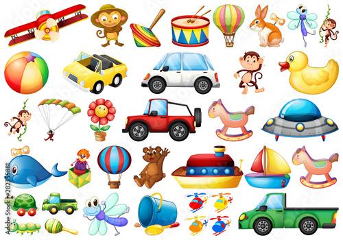 Fotobehang Cars set of different toys