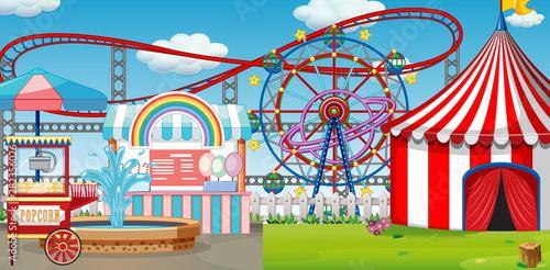 Poster Jeunes enfants An outdoor funfair scene with roller coaster