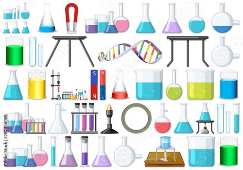 Photo set of science beakers