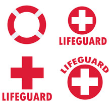 Set Of Lifeguard Icons On Whit...