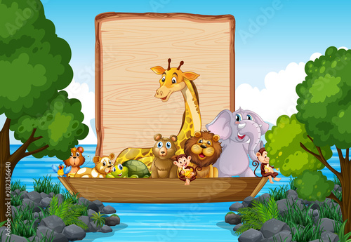 Border template design with cute animals on boat