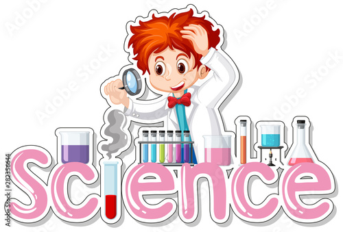 Photo Stands Kids Sticker design with scientist doing experiment