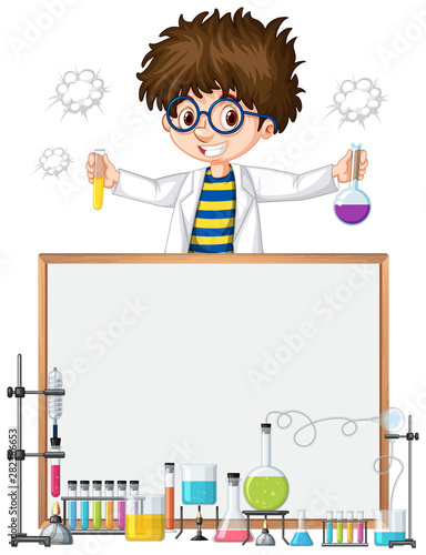 Photo Stands Kids Frame template design with kid in science lab