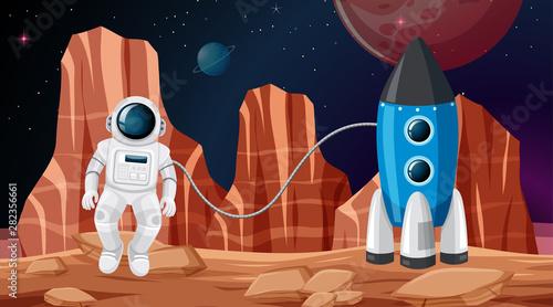 Photo Stands Kids astronaut in space scene