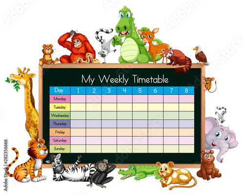 Photo Stands Kids Timetable template with many animals