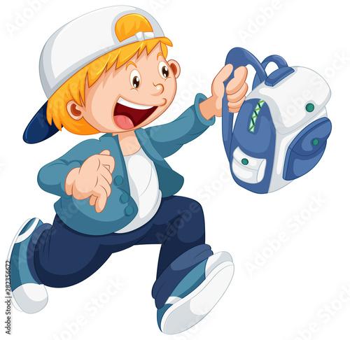 Spoed Fotobehang Feeën en elfen Boy running with a schoolbag