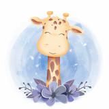 Fototapeta Fototapety na ścianę do pokoju dziecięcego - Cute Animal Giraffe Smile Face
