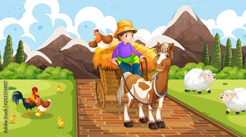 Farmer with farm animals scene