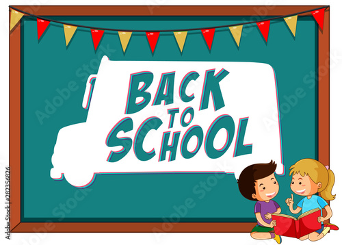 Back to school template with children