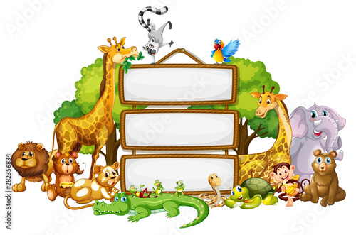In de dag Kids Border template design with cute animals