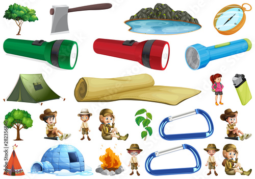 Set of outdoor people and objects
