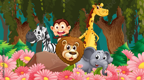 In de dag Kids Animals in jungle scene